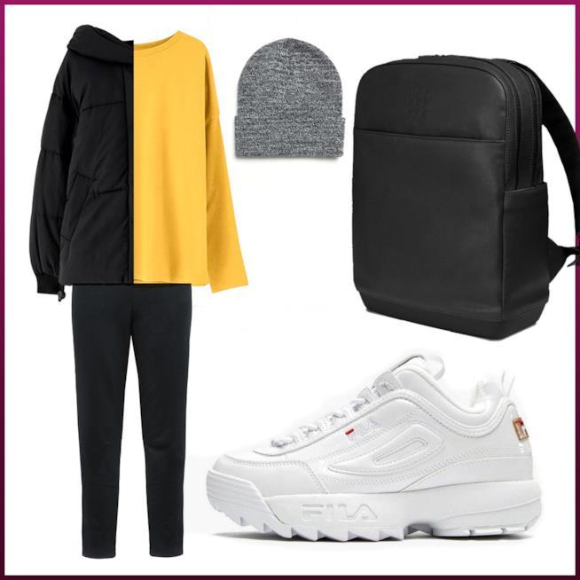 Outfit autunnale sportivo con scarpe Fila e436d767c13