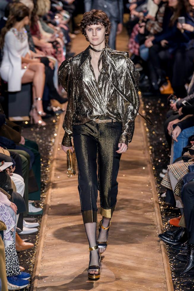Michael Kors camicia e pantaloni dorati NY FW