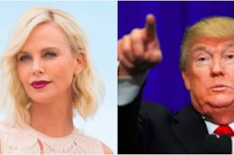 Collage tra Donald Trump e Charlize Theron