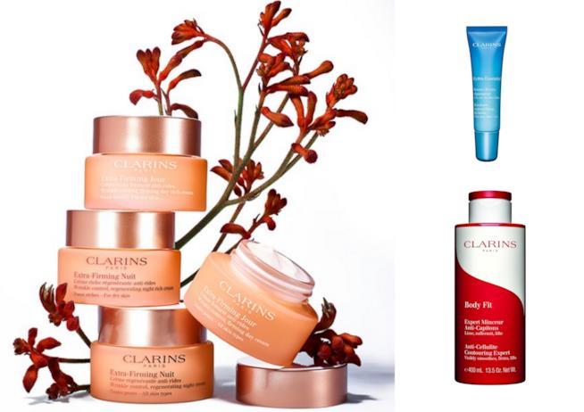 Alcuni dei prodotti Clarins per le pelli mature