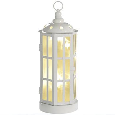 Lanterna natalizia con 15 luci LED bianco caldo, 35 cm