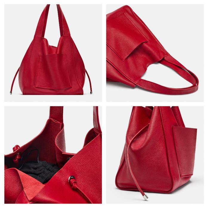 Shopper rossa in pelle di moda per l'autunno 2018