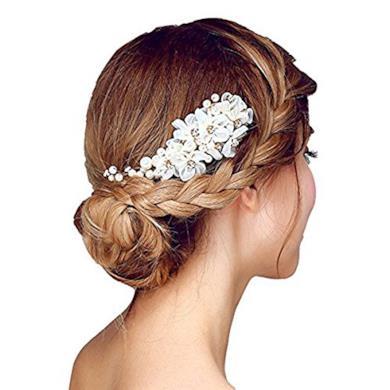 Fermaglio per capelli da sposa con perle e strass