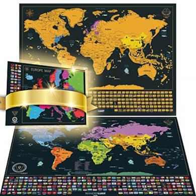 Mappa del mondo con bandiere da grattare + Mappa dell'Europa in Regalo