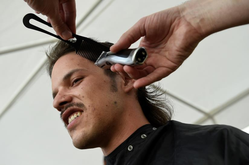 Festival del taglio di capelli in Belgio, taglio da vicino