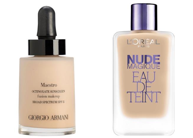 Fondotinta Armani Maestro e L'Oréal Eau de Teint