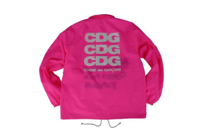 Parka rosa fluo con logo CDG