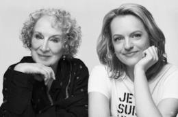 Elisabeth Moss con l'autrice Margaret Atwood