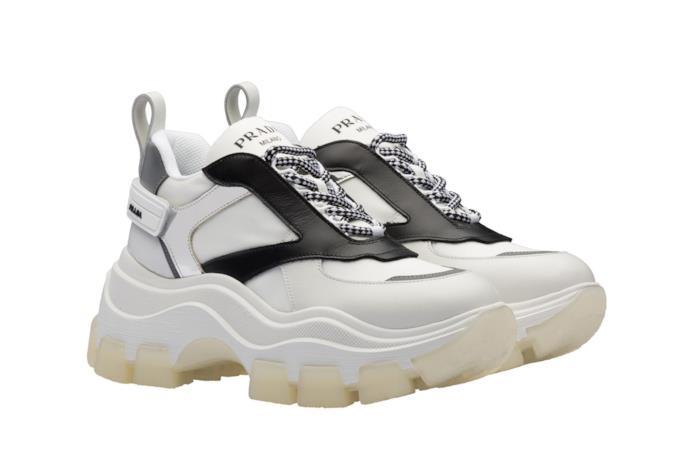 Chunky Sneakers in pelle bicolore bianco e nero con inserti in argento e lacci bianco/neri