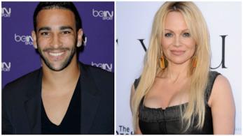 Primo piano di Adil Rami e Pamela Anderson