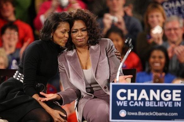 Oprah durante la campagna di Obama