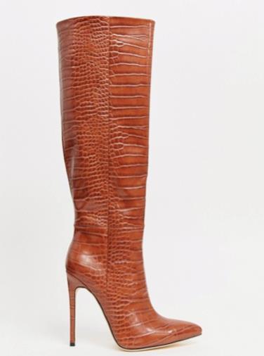 London Samia - Stivali sopra il ginocchio marroni effetto coccodrillo con tacco a spillo