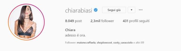 Profilo instagram Chiara Biasi