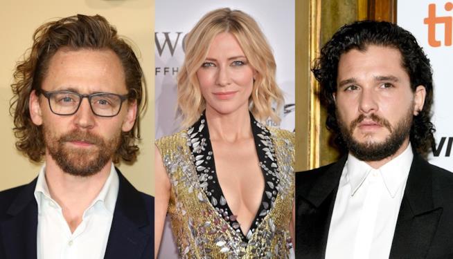 Gli attori Tom Hiddleston, Cate Blanchett e Kit Harington