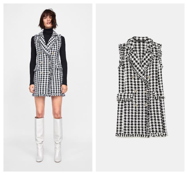Vestito mini in tweed di tendenza per l autunno inverno 2018-19 Zara. Zara.  Mini dress in tweed bianco e nero 62c282276bb