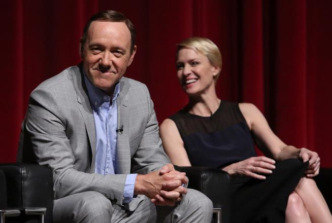 Robin Wright e Kevin Spacey a un talk