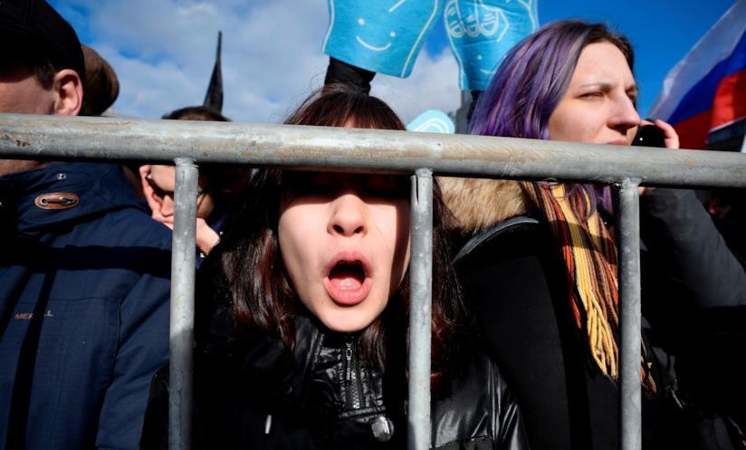 Protesta delle donne per rivendicare i loro diritti sul lavoro