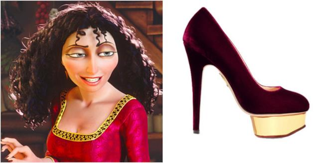 Un collage tra Mother Gothel e le scarpe Charlotte Olympia