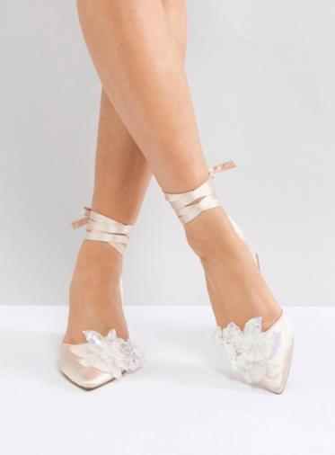 Scarpe pianta larga da sposa con decorazione e tacco