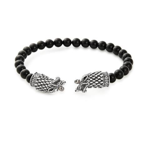 Bracciale con perle total black e testa di lupo grigia, simbolo degli Stark