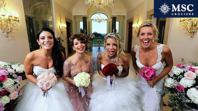4 spose che si giocano la vittoria del primo episodio di Quattro Matrimoni in Italia