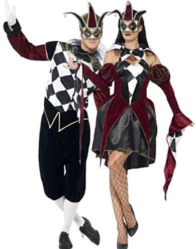 Coppia di costumi coordinati, da uomo e da donna, per travestimento da Arlecchino