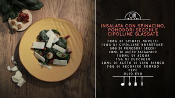 Insalata di spinacino, cipolline e pomodorini secchi