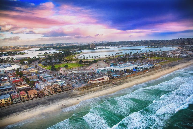 Vista della spiaggi di Mission a San Diego