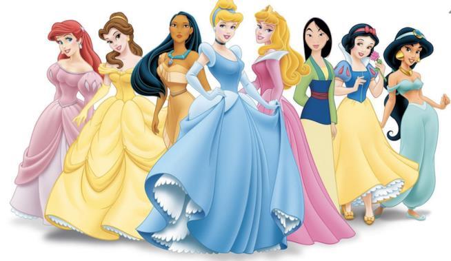 Una schiera di principesse Disney