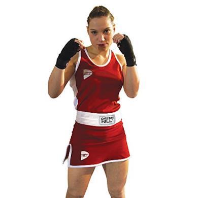 GREEN HILL PANTAGONNELLINO Pugilato Femminile Donna Boxe Boxing Panta Gonna (Rosso, S)