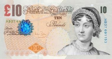 Banconota 10 sterline che raffigura Jane Austen