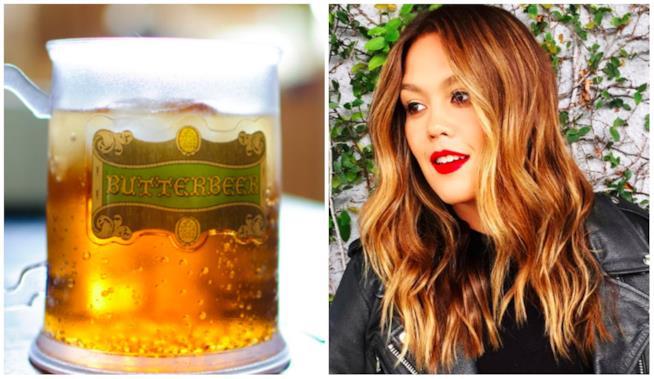 Un collage tra Butterbeer e i capelli di quel colore