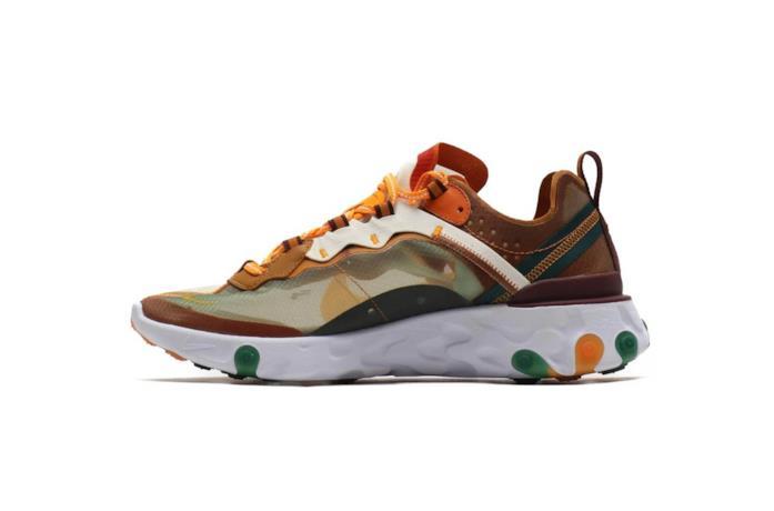 Sneaker da running Nike nei toni arancio, giallo, marrone e verde