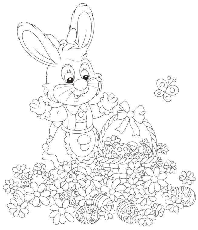 Coniglietta circondata da fiori e uova di Pasqua