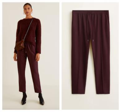 Pantaloni bordeaux vita regolabile