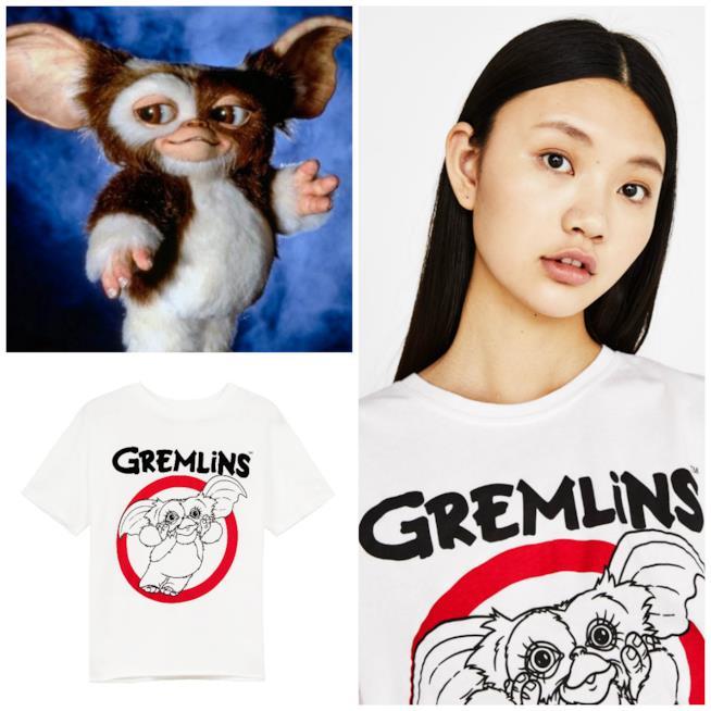 La t-shirt a tema Gremlins e una scena del film