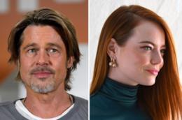 Gli attori Brad Pitt e Emma Stone
