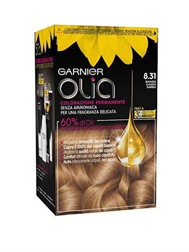 Garnier Olia Colorazione Permanente senza Ammoniaca, 8.31 Biondo Chiaro Sabbia