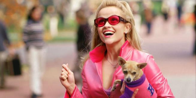 Reese Whiterspoon di rosa vestita in una scena del film La rivincita delle bionde