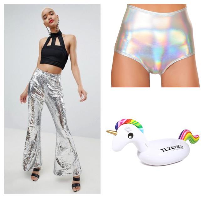 Gli shorts e i pantaloni con le paillettes olografici per l'estate 2018