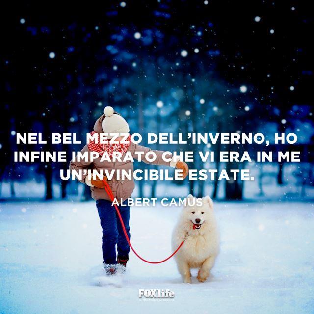 Bambina cammina nella neve con un cane