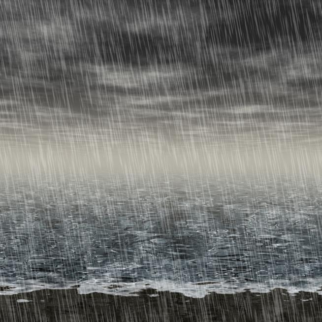 Il mare sotto la pioggia