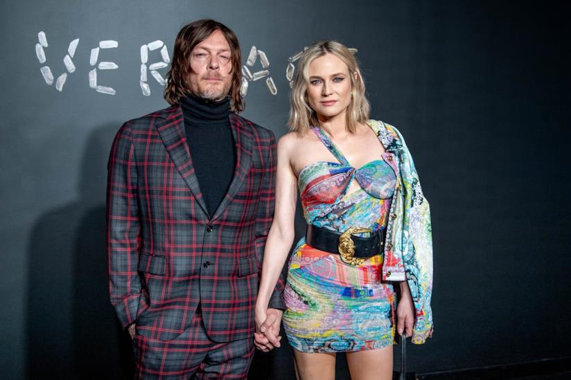 Diane Kruger e Norman Reedus alla sfilata di Versace