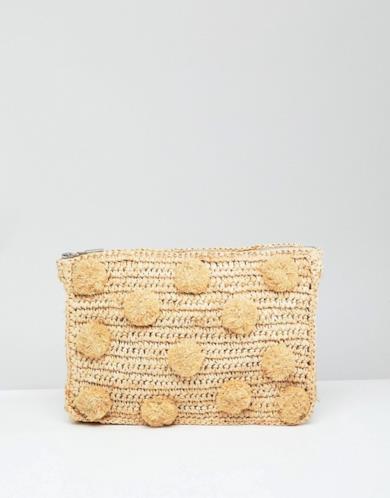 Pochette in paglia con pompon