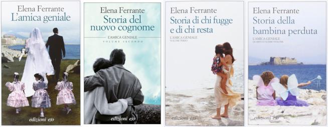 Le copertine dei quattro volumi italiani della tetralogia napoletana di Elena Ferrante.