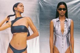 Costume intero grigio metallizzato modello ARCADIA Danielle Guizio