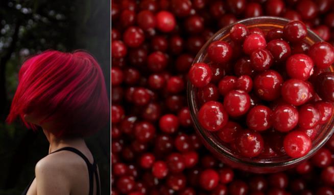Collage tra capelli rossi e mirtilli