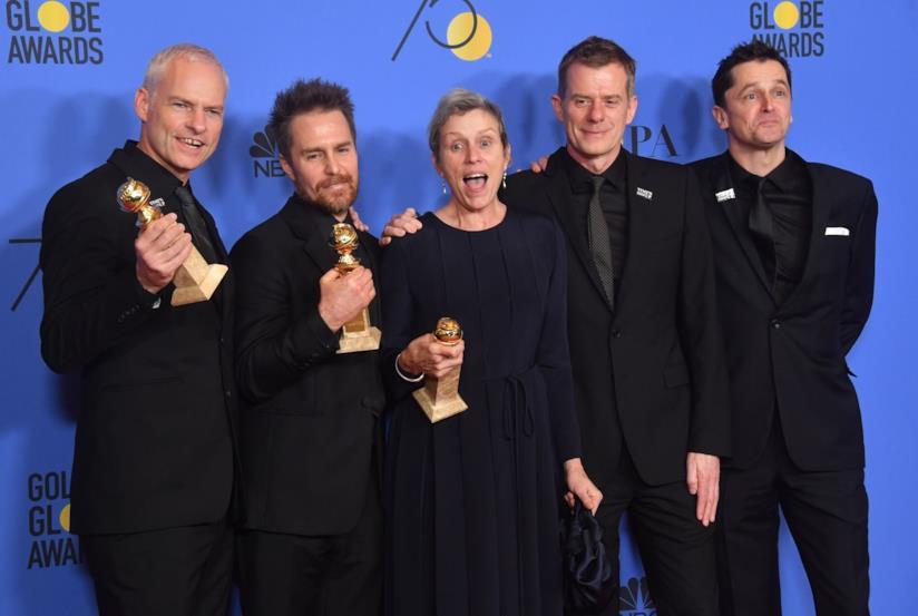Protagonisti e regista di Tre manifesti a Ebbing, Missouri vincitori di tre Golden Globe