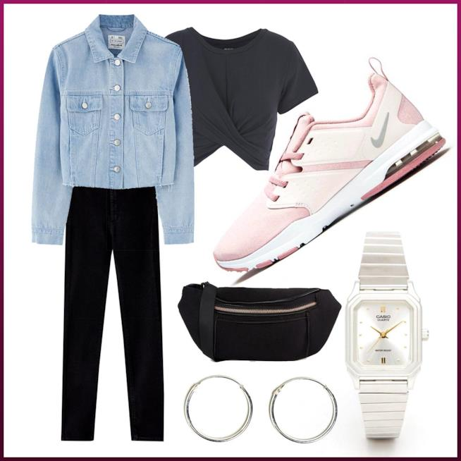 Outfit urban con giacca di jeans e Nike rosa
