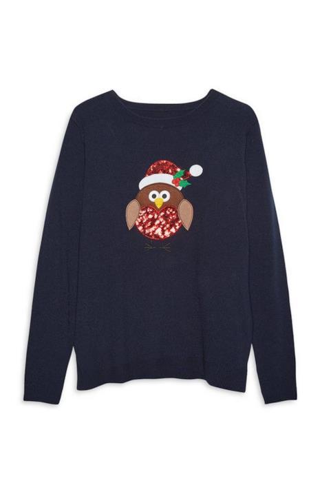 Un maglione natalizio blu con un gufo